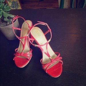 Red patent & cork wedge heels